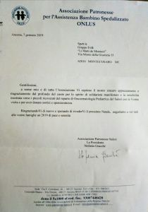 ringraziamento Salesi Ancona